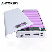 Get more info on the Antoksky Hot sale 5V Dual USB 8*18650 Power Bank Battery Box Mobile Phone Charger DIY Shell Case For iphone6 Plus S6 xiaomi