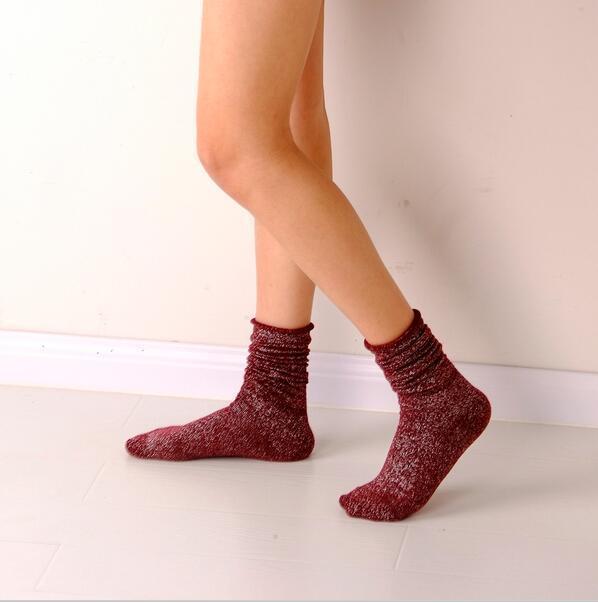 Shiny Long Socks Women Cotton Winter Glitter Golden Thick Loose Socks Harajuku Soft Piles Socks Edge Curl Solid Funny Socks Xmas