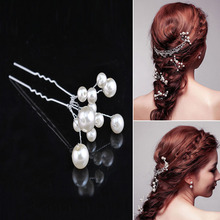 6PCs Women Wedding Hair Accessories Bridal Bridesmaid Pearl Flower Headpiece Hair Pin Fashion Head-wear Hair Jewelry Headdress