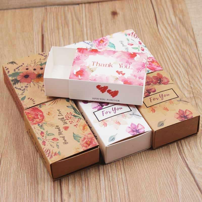 5pcs presentes padrão de flor pacote de slides caixa de mármore fundo caixa de exposição Feito À Mão obrigado caixa de doces favores do casamento do coração