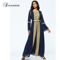 Muslim Golden Trim Embroidery Maxi Dress Chiffon Abaya Suit Cardigan Long Robe Ramadan Middle East Islamic