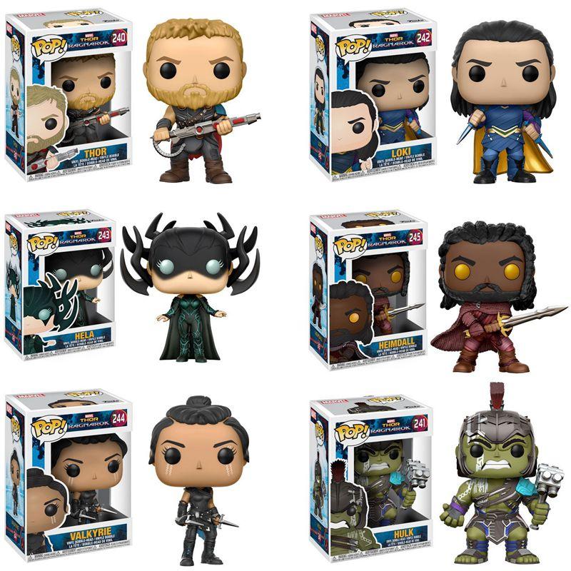 Funko pop Thor Ragnarok Thor - Gladiator Suit, Loki, Hela Masked, Heimdall, Valkyrie, Hulk Vinyl Figure Collectible Model Toy