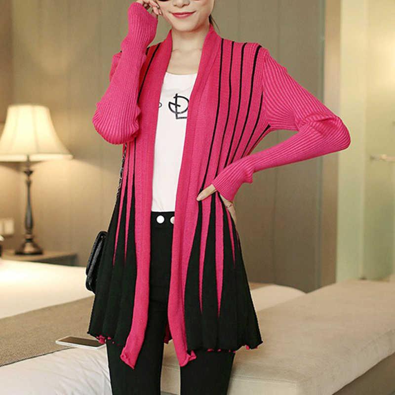 Jesień zima 2019 kobiet poncho kobiet sweter nadruk w paski z długim rękawem kobiet Knitting Slim cienki sweter sueter mujer CP103