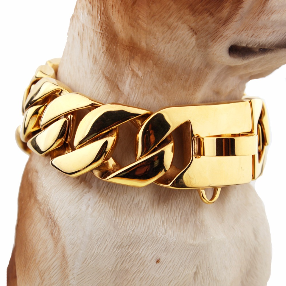 24/30mm Heavy Casting Cut Cuban Curb Link Stainless Steel Strong Dog Collar Gold Color Pet Safety Training Choker 18-26 Inches цена
