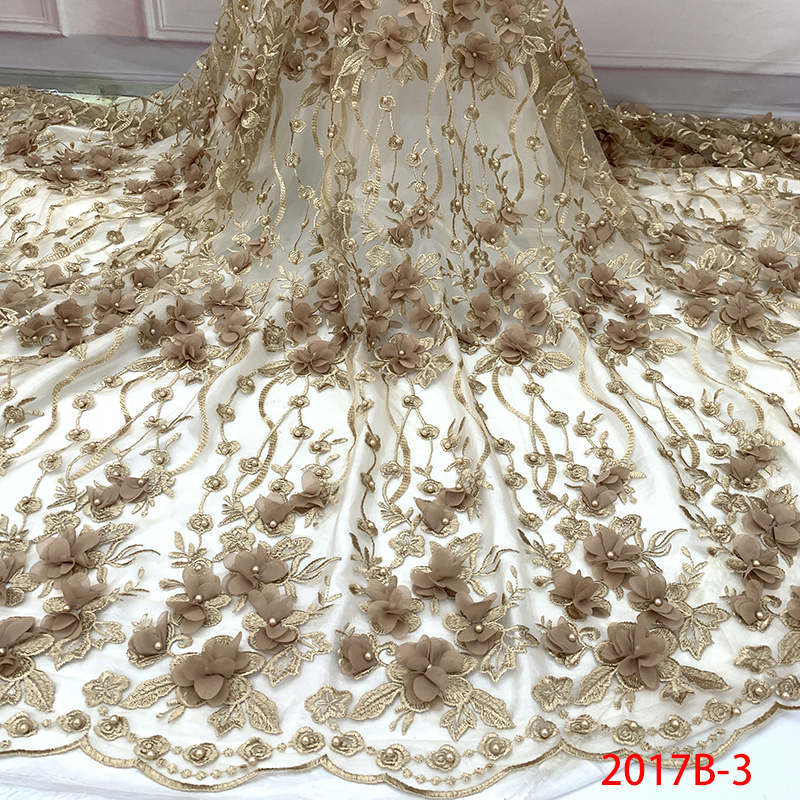 Hot Sale 3D Applique Laces High Quality African Lace Fabric French Tulle Lace Fabric With Beads for Bridal Dress KS2017B-3