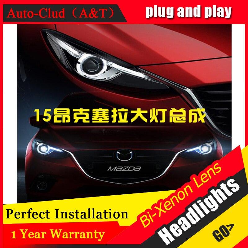 Auto Clud For Mazda 3 Axela xenon headlights 2014-2016 car styling bi xenon lens low beam led for mazda3 head lamps parking