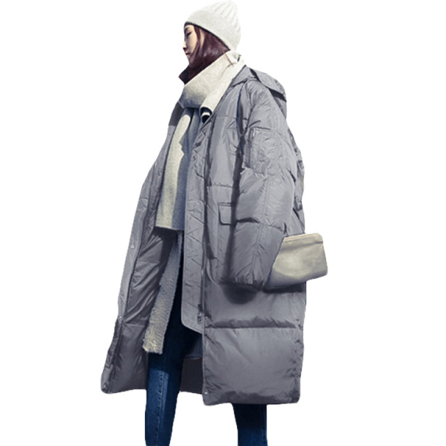 Lang Winterjas.Vrouwen Winter Oversized Jassen Lange Warme Jas Losse Brood Stijl