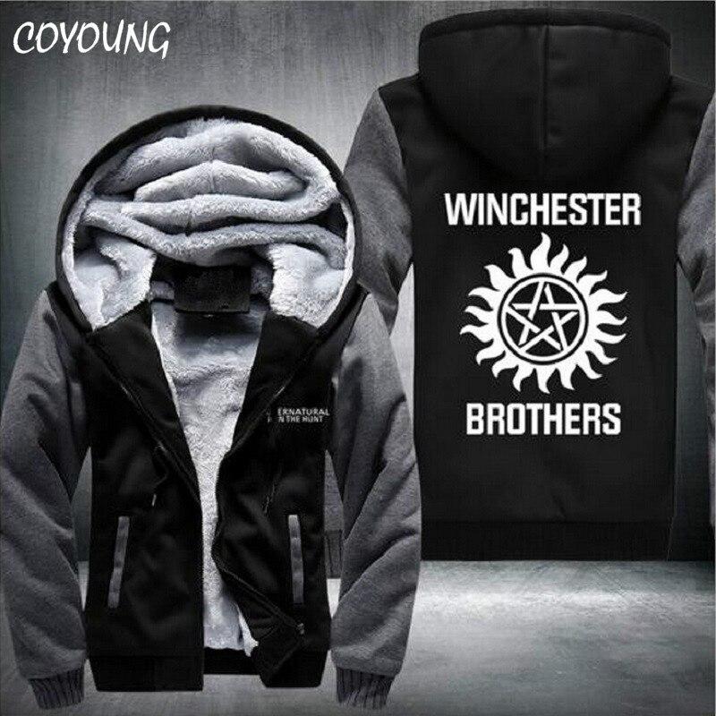 Envío Gratis ee.uu. tamaño hombres mujeres Supernatural espesar chaqueta con capucha sudaderas personalizado Coat ropa Casual