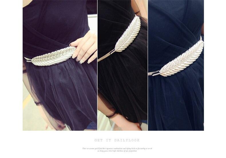 10 шт./лот) металлический пояс с перьями фирменный дизайн из золота и серебра с эластичная цепь, платье пояс для женщин подходит под любую талию
