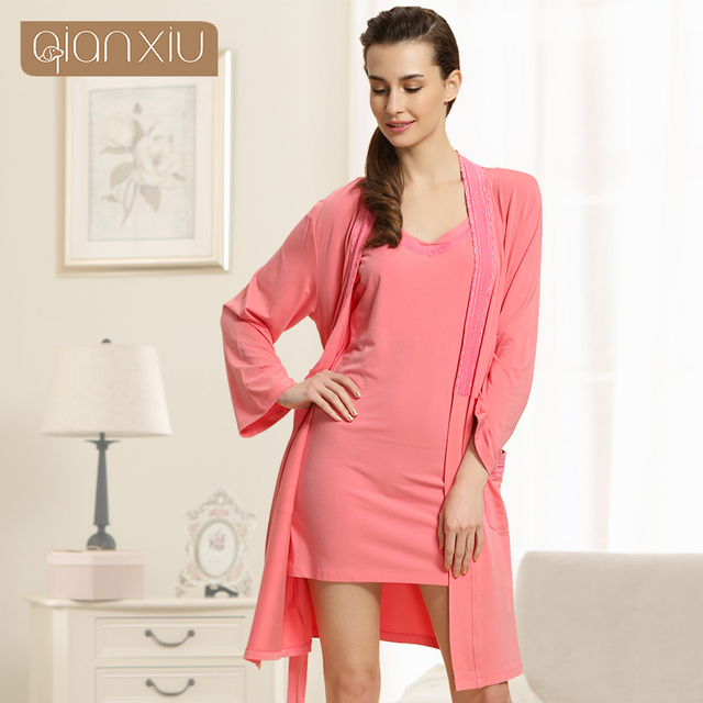 2017 New Long Sleeved  Woman Sexy Two Piece Modal  Robe Set  Women Soft Home Sleepwear1538