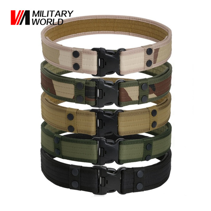 Outdoor Sport Hunting Adjustable Men Belt Camo Camping Sport Airsoft Paintball Canvas Belt Military Tactical Waistband Hiking