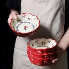 Cherry Ceramic Bowl China Salad Fruit Dessert Snack Japanese Dishes Rice Noodles Dinnerware Dish Flower Kitchen Tools Pots