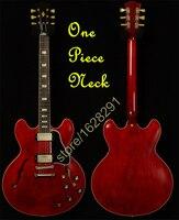 מכירת חמה אדום ES 335 חשמלי Guitarra הולו גוף גיטרה סין צוואר חתיכה אחת משלוח חינם