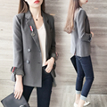 2017 new spring fashion show thin short full sleeve suit casual double breasted suit jacket pockets blazers