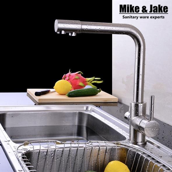 2015 Brush nickel Dual Holder Single Hole Ceramic None Torneira Cozinha Pure Drinking Water Filter Faucet Kitchen 3 Way Mixer