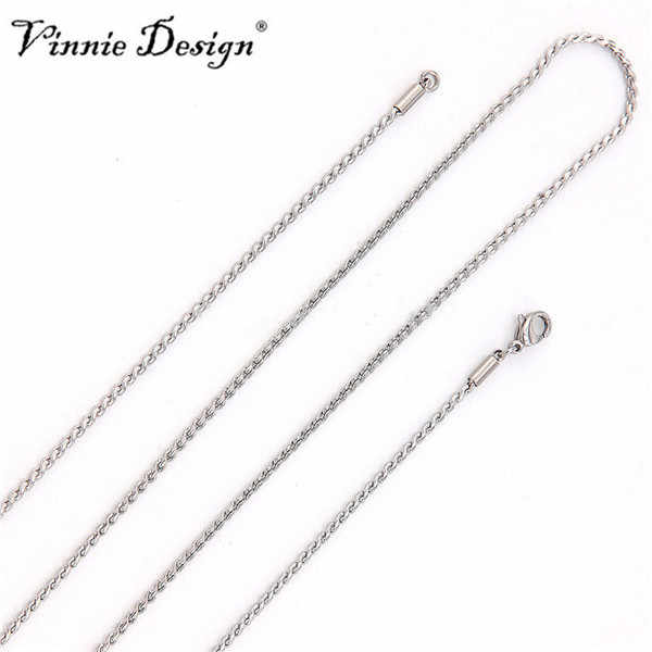 Vinnie Design Jewelry 80cm Long Chain Necklace Stainless Steel Silver Chains for Floating Locket Pendant