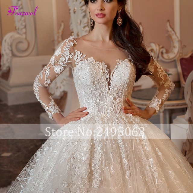 Fsuzwel Gorgeous Appliques Chapel Train Lace Ball Gown Wedding Dress 2019 Sexy Scoop Neck Long Sleeve Beaded Princess Bride Gown 4