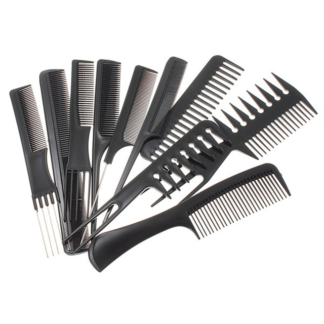 10pcs Professional Combs Set Salon Hair Black Plastic Hairdressing Comb Styling Tools Good For Barber