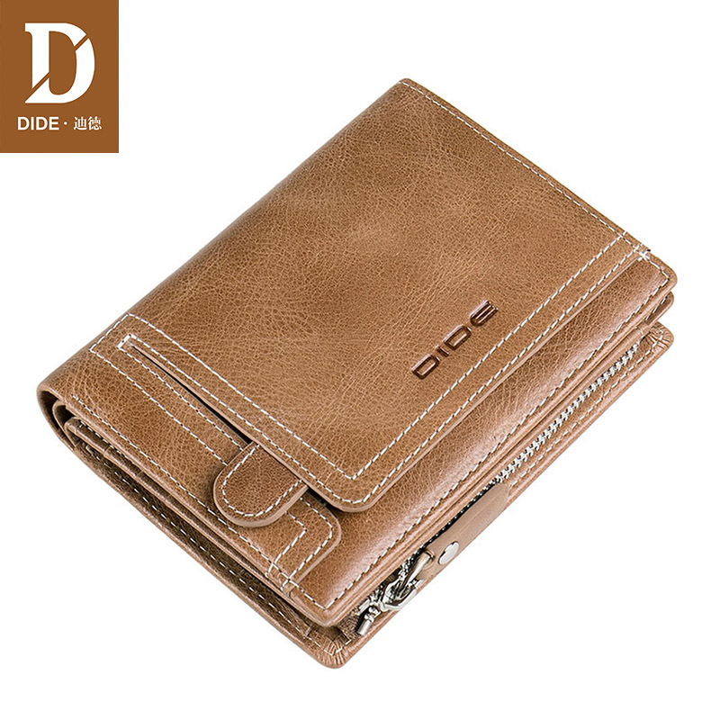 DIDE New Brand Genuine Leather Men Wallets Zipper Design Coin Purse Young men wallet gift Vintage wallet for men Dropshipping