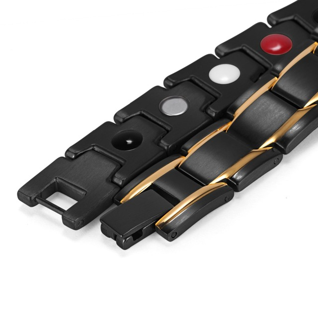 Black And Gold Stainless Bio Magnetic Men's Bracelet