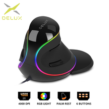 Delux M618Plus RGB Ergonomic Vertical Mouse 6 Buttons 4000 DPI Optical Computer With Removable Palm Rest For PC Laptop