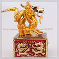 Dragon Decorative Statue Fashion Dragon Shape Metal Enamel Trinket Box with Rhinestone Asian Dragon Trinket Box