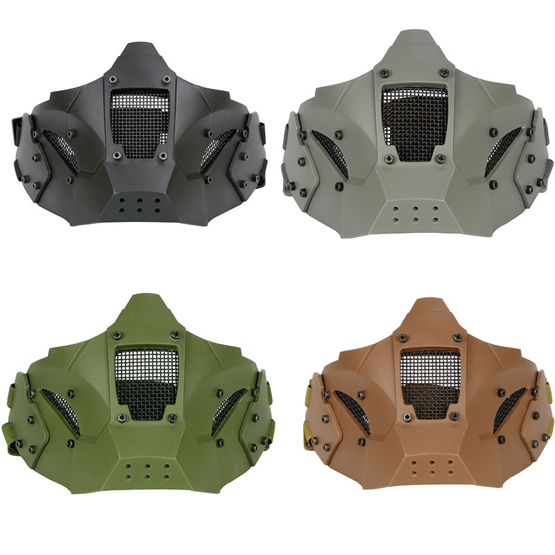 Tactique Airsoft Paintball Moitié Du Visage Masque De Protection CS Militaire Jeu Paintball Métal Acier Net Utiliser Avec Rapide Casque Mesh Masque