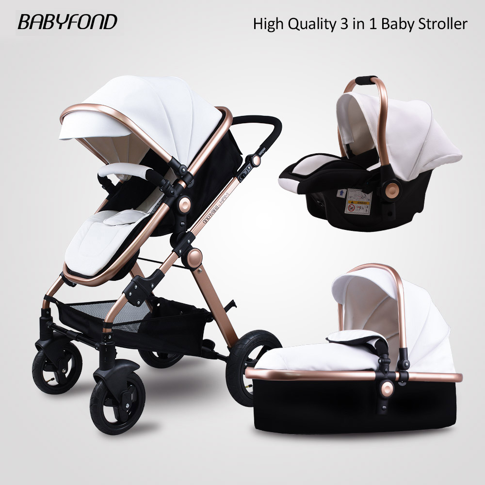 Golden Baby stroller high landscape baby cars PU material 3 in 1 stroller with car seat 2 in 1 baby car pram CE safety Babyfond babyfond high quality leather baby car baby stroller 3 in 1 baby carriage 2 in 1 baby stroller aluminum alloy frame