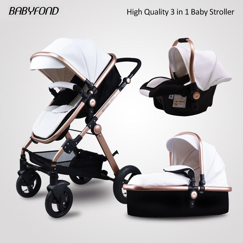 Goldene Baby kinderwagen hohe landschaft baby autos PU material 3 in 1 kinderwagen mit auto sitz 2 in 1 baby auto kinderwagen CE sicherheit Babyfond