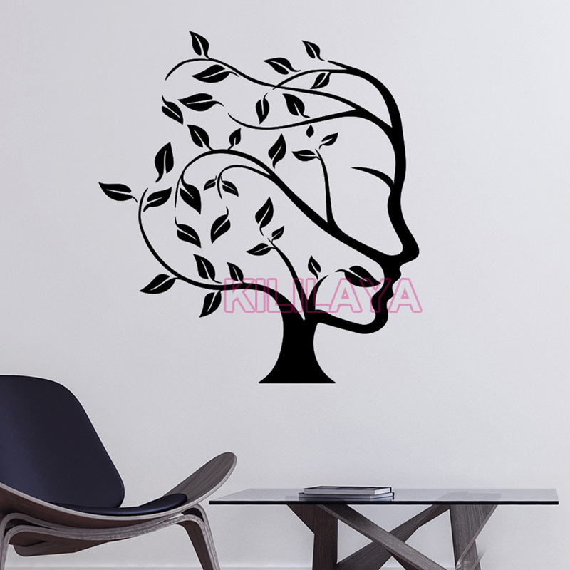 Home Decor Mural Art Wall Paper Stickers ~ Stickers natural tree women face wall sticker decals mural