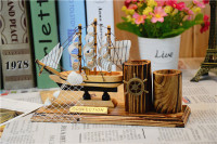 New Creative Wooden Sailboat Pen Holders Pencil Vase Wood Pen Container Office Supplies Stationery Decoration Wonderful