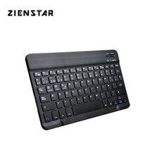 """Zienstar جدا ضئيلة 10 """"الإسبانية سماعة لاسلكية تعمل بالبلوتوث لوحة مفاتيح لأي باد ، ماك بوك ، الكمبيوتر المحمول ، الكمبيوتر PC و قرص ، بطارية قابلة للشحن"""
