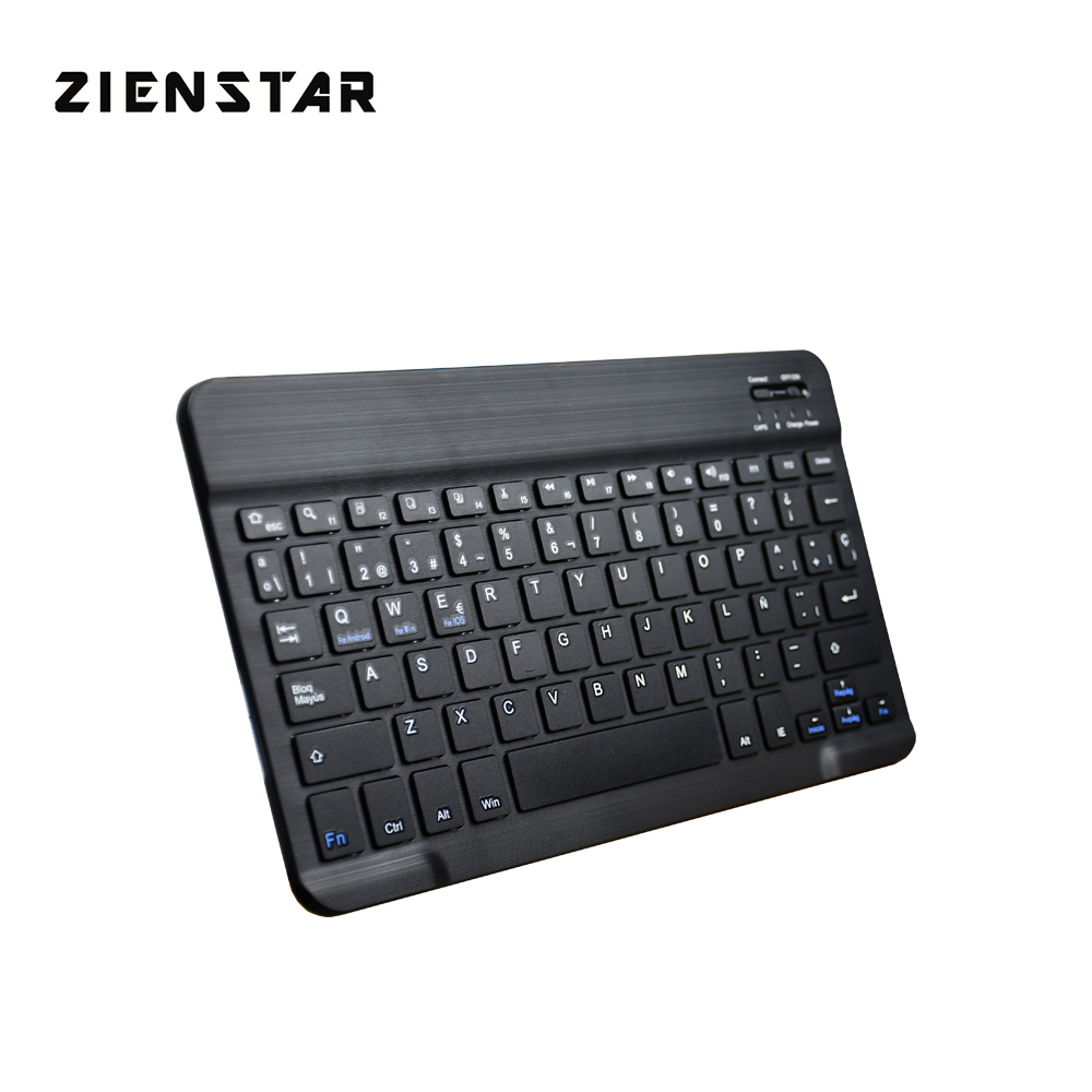 "Zienstar Ultra Slim 10"" Spanish Wireless Bluetooth Keyboard For IPAD,MACBOOK,LAPTOP, Computer PC"