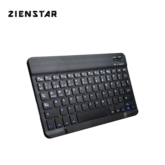 """Zienstar Ultra Slim 10"""" Spanish Wireless Bluetooth Keyboard for IPAD,MACBOOK,LAPTOP, Computer PC and Tablet,Rechargeable Battery"""