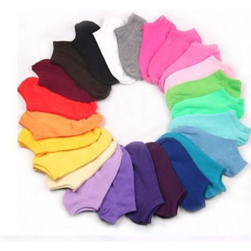 10Pair Women's Socks Short Candy Color Dot Cute Art Socks Female Thin Ankle Cotton Blends Socks Low Cut Sock Chaussettes Femmes