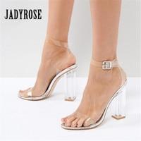 JADY ROSE Fashion PVC Women Pumps Summer Sandals Ankle Wrap Transparent High Heels Sexy Ladies Wedding