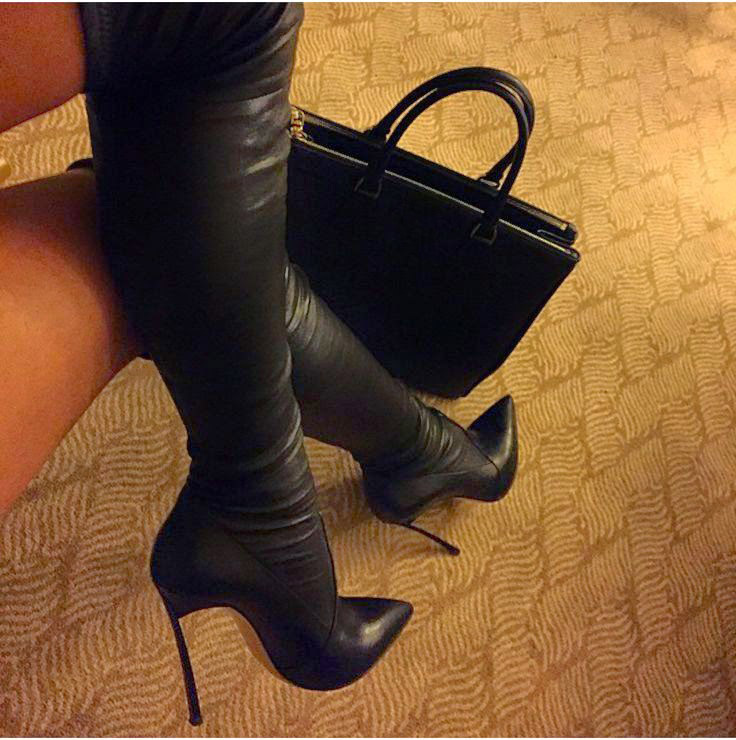 Real Leather Thigh High Boots - Cr Boot