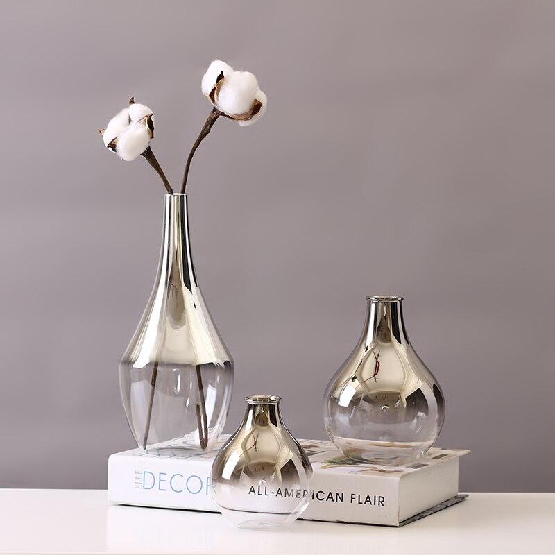 Хрустальная Ваза Home Decor серый красочные серебристый белый цветок вазы Стекло ваза на продажу