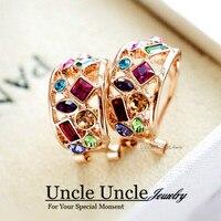 Cóctel diseño! Rosa de oro color multicolor cristal austriaco de lujo colorido mujer Pendientes al por mayor