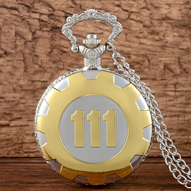 New Arrivals Quartz Pocket Watch Gold Silver Game Fallout 4 Vault 111 Steampunk