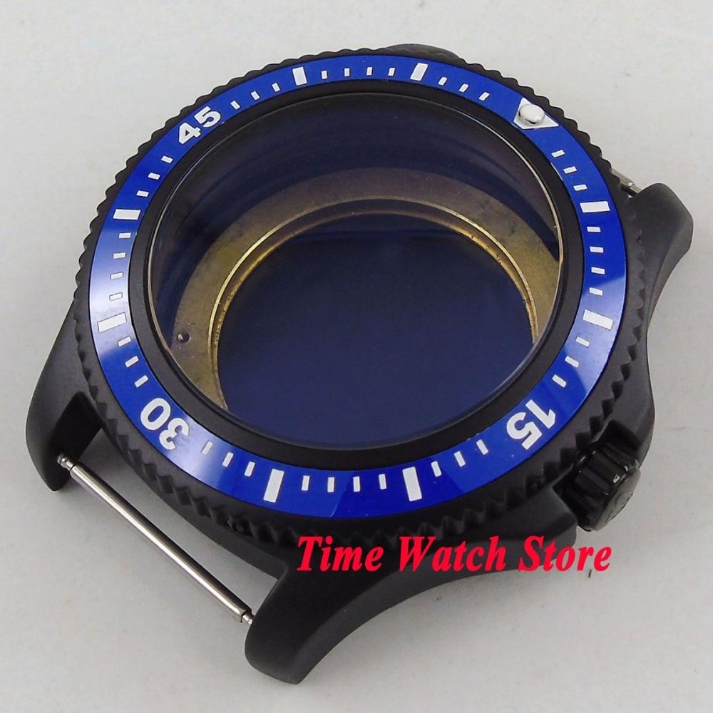 44mm PVD coated blue ceramic bezel Watch Case fit ETA 2824 2836 DG2813 3804 MIOTA 8215 8205 821A movement C14 42mm pvd coated case black aluminum alloy bezel watch case fit eta 2824 2836 dg2813 3804 miota 8215 8205 821a movement c18