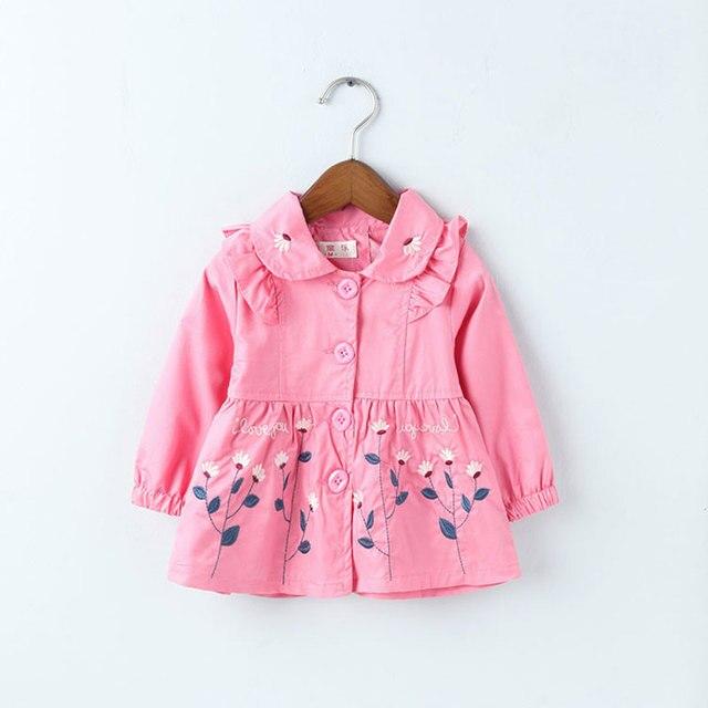 Nova pano trincheira de manga longa baby girl clothing infantil jaquetas casacos para as meninas do bebê recém-nascido flor impresso casual roupas outfit
