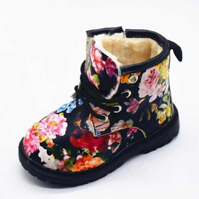 ฤดูหนาวเด็กผู้หญิง Martin Boots with fur Elegant ดอกไม้การพิมพ์เด็กน่ารักเด็กสบายรองเท้าอุ่นรองเท้าบู๊ตหิมะ