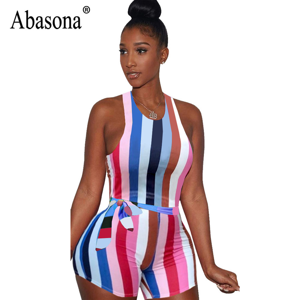 Abasona Women Sexy Bodycon Sleeveless Short Playsuits Striped Sashes Romper Bodysuits Summer Women Nightclub Jumpsuit Overalls