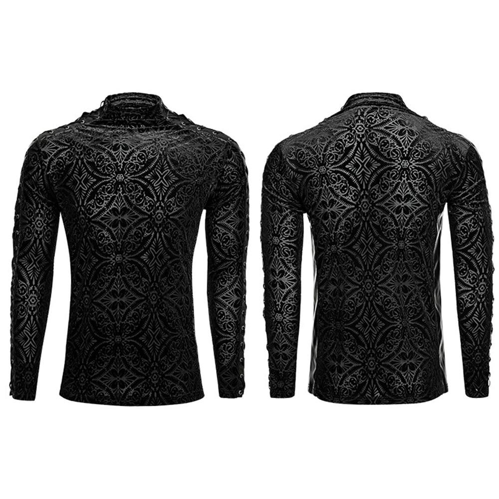 Великолепный готический черный Для мужчин футболка Винтаж плотно, с длинным рукавом плотная футболка стенд воротник Весна футболки - 5