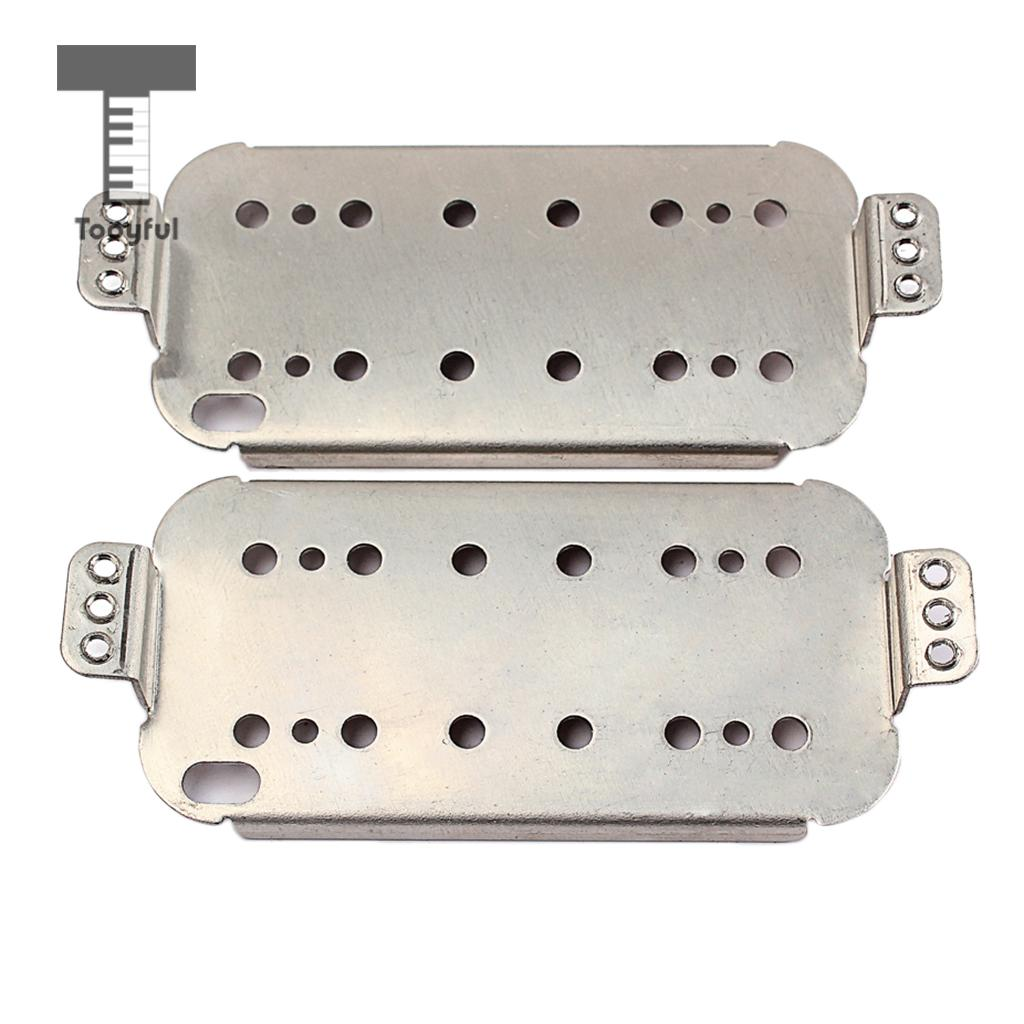 Tooyful 2 Pieces Electric Guitar Neck Bridge Cupronickel Humbucker Double Coil Pickup Baseplates 50mm+52mm niko black humbucker double coil pickups 50mm neck 52mm bridge for fender strat sq electric guitar pickups