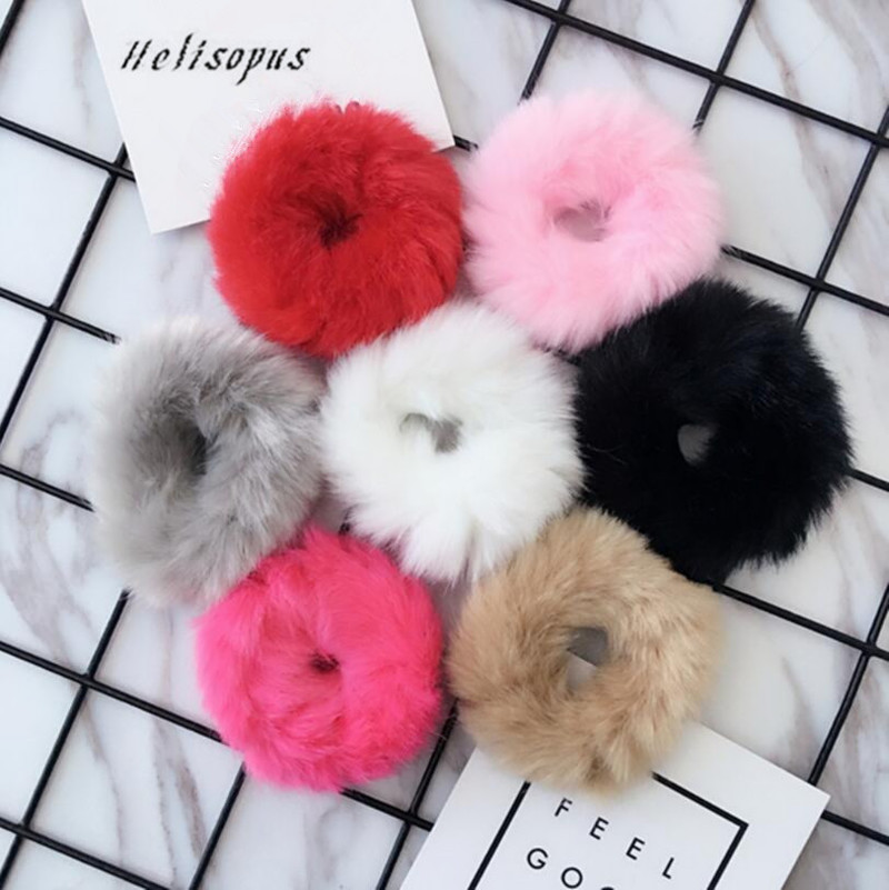 Helisopus Women Korean Fake Rabbit Fur Elastic Hair Rope Bands Girls Ponytail Hair Ring Rope Rubber   Headwear   Hair Accessories
