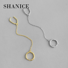 SHANICE 925 Sterling Silver No Pierced Ear Clip Cuff Wrap Earrings INS geometric square circle chain tassel Non-piercing Clip