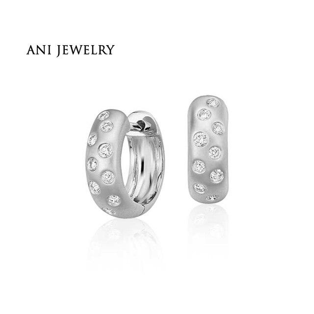 ANI 14k White Gold Women Circle Earrings 0.22 ct Certified I/S1 Diamond Small Circle Earrings Elegant Female Bijoux Customized