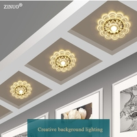 ZINUO Surface Mounted LED Downlight 3W 5W 220V Crystal Aisle Light Round Living Room Bedroom Ceiling Lamps Balcony Punch Hall